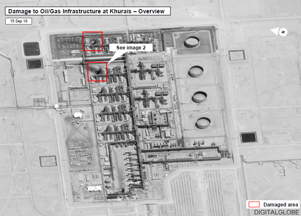 Digitalglobe satellite image of damaged Khurais facility